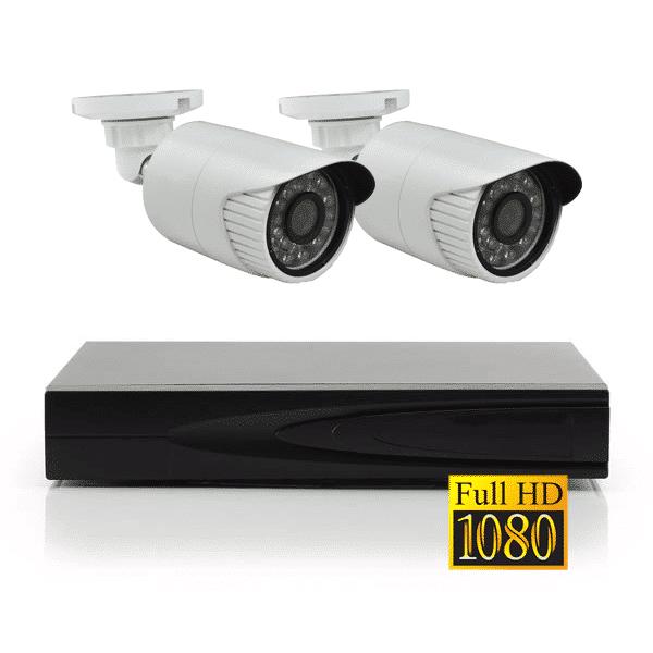 Комплект IP видеонаблюдения Full HD 1080p для улицы на 2 камеры